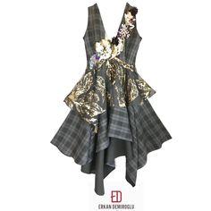 Wool plaid and lurex jacquard blended asymmetric cut dress.  ED AW/17-18 Erkan DEMIROĞLU