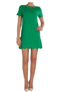 Scalloped Shift Dress - Short Sleeve Scallop Hem Mini