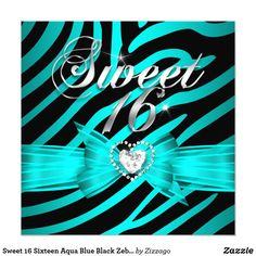 Sweet 16 Sixteen Aqua Blue Black Zebra 2 Card Sweet 16 Sixteen Teal Blue Zebra Animal Black Lace Glitz Glam Diamonds Hearts Aqua Teal Blue & Blue Turquoise Celebrations Invitation modern girly Formal Use for any event invitation Customize to change or add details. All Occasions Fabulous Elegant Events for Girls, Party Invites for all ages, just customize to the age you want! Affordable, Cheap but classy! Zizzago created this design PLEASE NOTE all images are NOT Diamonds Jewels or real…