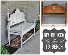 Broken Headboard Bench: A broken bench gets some love and attention. This DIY craft is an easy do for all those abandoned headboards floating around in the world! www.huntandhost.com