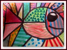 Ocean Artwork. A fish in the Style of Britto {MEGA Ocean RoundUP: DOZENS & DOZENS of Ocean Based Ideas, Projects and Inspiration!!! at RainbowsWithinReach}
