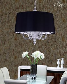 109 SM silver leaf crystal pendant light combined with pvc black chrome lampshade Crystal Pendant Lighting, Pendant Lights, Spice Things Up, Living Spaces, Chrome, Chandelier, Shades, Ceiling Lights, Home