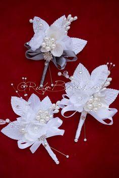 Corsage Wedding, Wedding Bouquets, Wedding Flowers, Satin Flowers, Fabric Flowers, Blue Boutonniere, Groomsmen Boutonniere, Family Flowers, Ribbon Bouquet