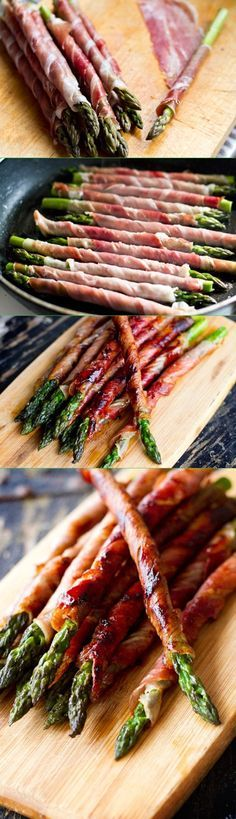 12 asparagus spears 6 prosciutto slices Cut prosciutto strips in half lengthways. Wrap the bottom end of prosciutto over the asparagus start rolling in a spiral up, leaving tip exposed. Fry wrapped asparagus spears until prosciutto is brown and crispy.