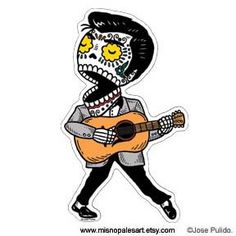 Young Elvis Calavera Die Cut Vinyl Sticker by MisNopalesArt. , via Etsy.
