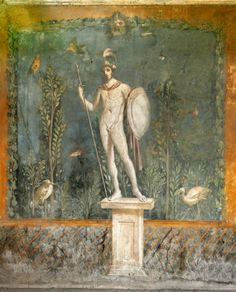 Stock Photo - Ancient Roman mural at the Roman city of Pompeii showing the God Mars in front of a garden (at the House of Venus in the shell Fresco, Roman History, Art History, Art Romain, Pompeii And Herculaneum, Pompeii Ruins, Pompeii Italy, Rome Antique, Roman Gods