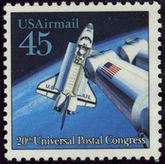 45c USA postage stamp featuring the Space Shuttle celebrating the 20th universal Postal Congress