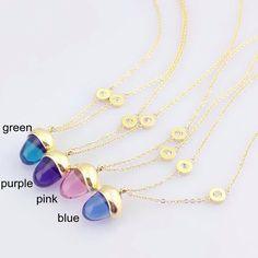 Зеленый / синий / розовый / фиолетовый кристалл опал тигровый глаз камень кулон женщин титана стали желтый / роза / белый позолоченные короткий ожерелье