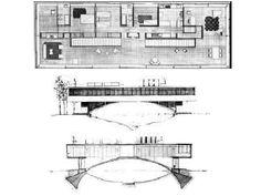 Amancio Williams, Casa Sobre el Arroyo, Mar del Plata, Argentina, - Buscar con Google Concept Architecture, Amazing Architecture, Architecture Design, Building Plans, Building Design, Amancio Williams, Architect Drawing, Argentine, Wood Stone