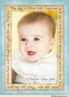 Handwriting Baby Thank You Photo Card - Vertical Blue & Golden Layout Option