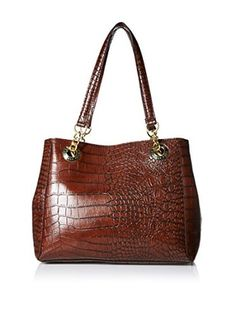 London Fog Women's Barrow Tote, Mahogany Croco