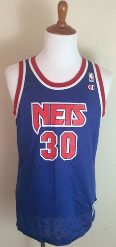 f45b284dea5d Vintage Kerry Kittles Champion New Jersey Nets Jersey sz 44 Large Blue Red  NBA  Champion