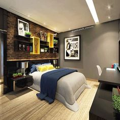25 Cool and Cozy Teenage Boy Bedroom Ideas For Your Beloved Son Bedroom design is one that is often heard when building, arranging and decorating a useful place for a place t Home Bedroom, Modern Bedroom, Kids Bedroom, Bedroom Ideas, Master Bedroom, Bedroom Furniture, Furniture Sets, Bedroom Decor, White Bedrooms