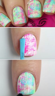 Super Easy Nail Art Ideas for Beginners - No-Tools Nail Art Summer Neon Dry Brush Manicure KELLI MARISSA - Simple Step By Step DIY Tutorials And Pictures For Nailart. Ideas For Every Style, All Hair Colors, Sparkle, Valentines, And other Awesome Products To Make It DIY and Super Easy - https://thegoddess.com/nail-art-ideas-beginners