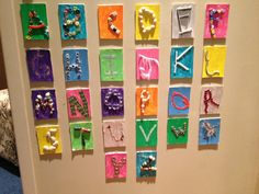 Letters of the alphabet made from found materials glued onto painted backgrounds. Each student chooses a letter? (Reggio Emilia: The Alphabet - Fairy Dust Teaching) Have the children make the alphabet for the classroom Preschool Literacy, Teaching Kindergarten, Preschool Art, Literacy Activities, Preschool Painting, Teaching Letters, Teaching Kids, Reggio Emilia Classroom, Reggio Inspired Classrooms