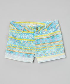Look at this Chelsea Blue & Yellow Geometric Cuffed Shorts - Girls on #zulily today!