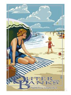 For dining area - Outer Banks, North Carolina - Woman on Beach Prints by Lantern Press at AllPosters.com