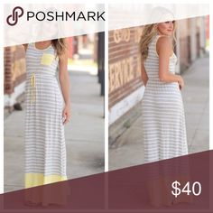 "🆕 Striped Maxi Dress Striped White and Gray Maxi Dress with Yellow Trim. Soft and comfortable! 95% Rayon, 5% Spandex. BUST: S-17"", M-18"", L-19"". LENGTH: S-58"", M-59"", L-60"". Feel free to ask questions and make me an offer!! Infinity Raine Dresses Maxi"