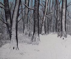 Modern Schilderij Winter 60x50x2