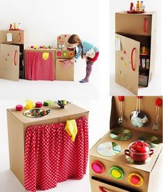Kids' Crafts with Recycled Materials - Petit & Small Cardboard Kitchen, Cardboard Box Crafts, Cardboard Toys, Cardboard Box Ideas For Kids, Diy Play Kitchen, Toy Kitchen, Kids Crafts, Crafts To Make, Handmade Home