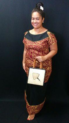 Gold, maroon and black puletasi with Fijian pandanus hand-woven bag