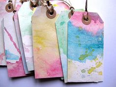 Party Favor Tags. watercolor tags. but in thick stripes of rainbow colors.
