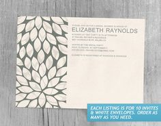 Elegant Contemporary Bridal Shower Invitations