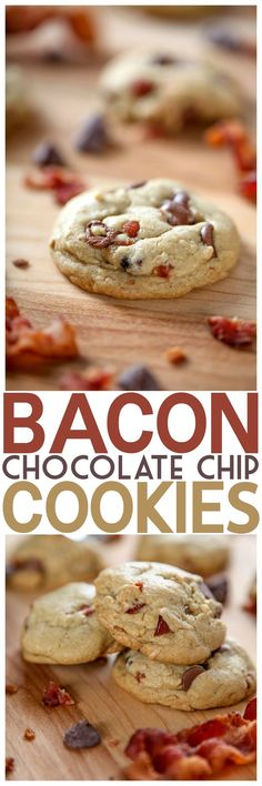 "Chocolate Chip Cookies Sweet ""meats"" salty in these ultra chewy cookies bursting with sweet chocolate chips and smoky bacon.Sweet ""meats"" salty in these ultra chewy cookies bursting with sweet chocolate chips and smoky bacon. Cookie Desserts, Oreo Dessert, Just Desserts, Cookie Recipes, Delicious Desserts, Dessert Recipes, Desserts With Bacon, Breakfast Recipes, Recipes Dinner"