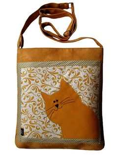 Cat Bag with Zipper Yellow Messenger Bag with Adjustable by ifONA