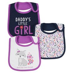 Baby Girls' 3 Pack Bib Purple Sweeter Than Sugar - Just One You™Made by Carter's®. Image 1 of 1.