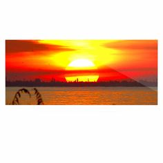 "Philip Brown ""Sunrise On Sanibel"" Coral Gold Luxe Rectangle Panel from KESS…"