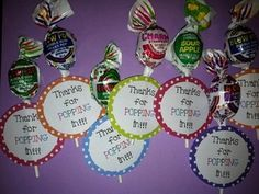 """Welcome your students back to school or parents to conferences with these cute candy phrases. Tape blow pops to the phrase, """"Thanks for popping in!"""" and tape fun dip to the phrase, """"It's going to be a fun year!"""""""