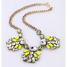 Sweet Lime Statement Necklace (52 CAD) ❤ liked on Polyvore featuring jewelry, necklaces, statement necklace, clear crystal jewelry, lime green necklace, clear statement necklace and bib statement necklace