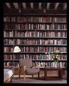 New York Loft - wall of books.