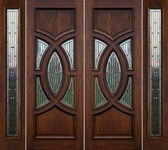 Exterior Double Doors with Sidelights - Solid Mahogany Doors Wooden Main Door Design, Double Door Design, Front Door Design, Custom Wood Doors, Wood Garage Doors, Wooden Front Doors, Oak Doors, Entrance Doors, Double Doors Exterior
