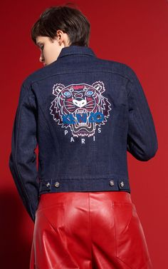 Tiger Denim Jacket, NAVY BLUE, KENZO