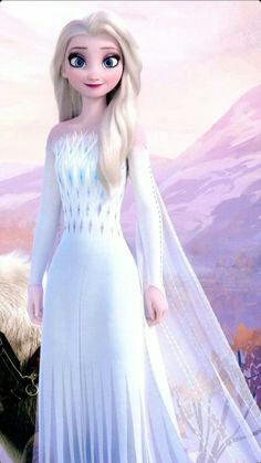 Elsa with open hair and beautiful dress