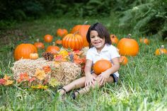 Pumpkin Patch Mini Session with toddler girl at park