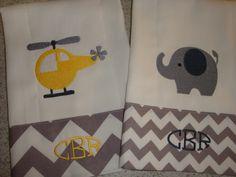 Chevron Grey Baby Boy Burp Cloths Monogrammed. via Etsy.