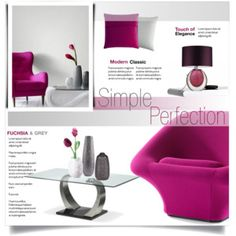 Simple Perfection. Fuchsia and grey.