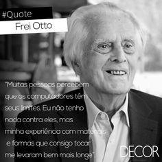 """Conhecido como """"arquiteto dos arquitetos"""", Frei Otto (31/05/1925 - 9/03/ 2015) foi um arquiteto e engenheiro alemão conhecido por suas inovações em estruturas leves e tensionadas. Em 2006, Otto foi consagrado com a RIBA Royal Gold Medal, já em 2015, recebeu postumamente o Prêmio Pritzker de Arquitetura, por ser um revolucionário na arte de criar estruturas leves."""