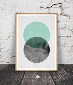 Geometric Art Circle Print Mint Green and Black от lilandlola