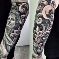 Did some freehand filigree on the back part of 's forearm. I ll post a pic of the entire sleeve tomorrow 🐝🍯 . Koi Tattoo Sleeve, Skull Sleeve Tattoos, Full Sleeve Tattoo Design, Best Sleeve Tattoos, Lil B Tattoo, Alas Tattoo, Swirl Tattoo, Badass Tattoos, Sexy Tattoos