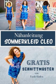 Freebook summer dress sewing with free sewing pattern- Freebook – Sommerkleid nähen mit kostenfreiem Schnittmuster Sewing instructions and free pattern for the summer dress Cleo by Funkelfaden in size - Baby Knitting Patterns, Sewing Patterns Free, Knitting Designs, Free Sewing, Free Pattern, Baby Patterns, Pattern Sewing, Pattern Dress, Crochet Patterns