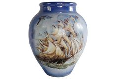 Large Clipper Ship Vase