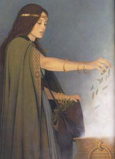 Ceridwen (the beatiful witch-queen and Goddess) from Fées et Déesses, by Erlé Ferronnière.