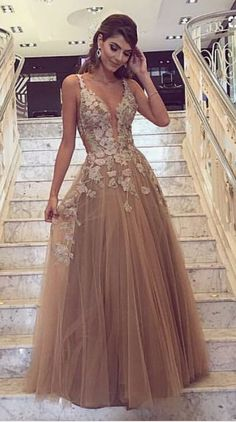 Champagne Prom Dresses,tulle Prom Dresses,lace E Vening Dresses on Luulla