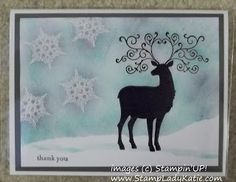 Sponged Snowdrifts and Christmas Deer.