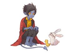 Precious blueberry with his friends, angry birb and bun bun.