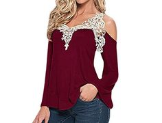 FUNOC® Womens Sexy V-Neck Lace Off Cut Out Shoulder Long Sleeve Tops Shirt -- You can find more details by visiting the image link.